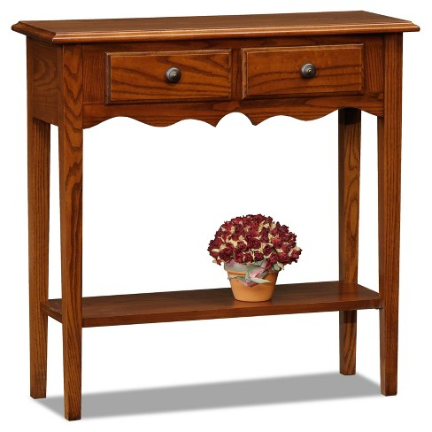 Petite Two Drawer Console Table - Medium Oak - Leick Home - image 1 of 1