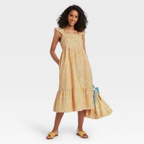 Women's Ruffle Sleeveless Dress - Universal Thread™ Yellow Floral - image 1 of 3