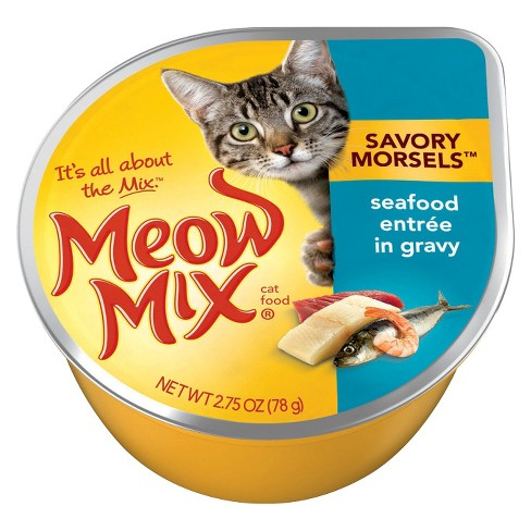 Meow Mix Savory Morsels with Seafood Entree in Gravy Wet Cat Food - 2.75oz - image 1 of 1