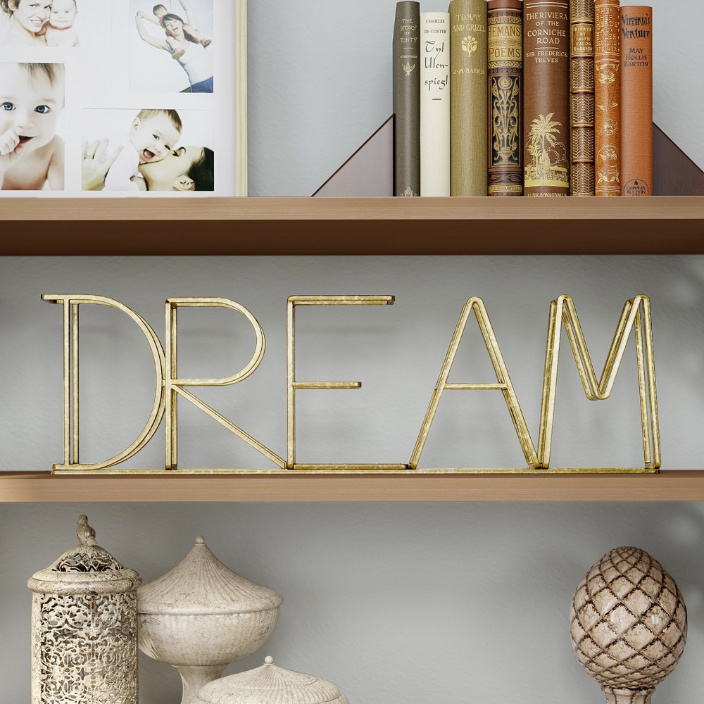 """Image of """"""""""""Dream"""""""" Metal Cutout Free Standing Table Top Sign Gold - Lavish Home"""""""