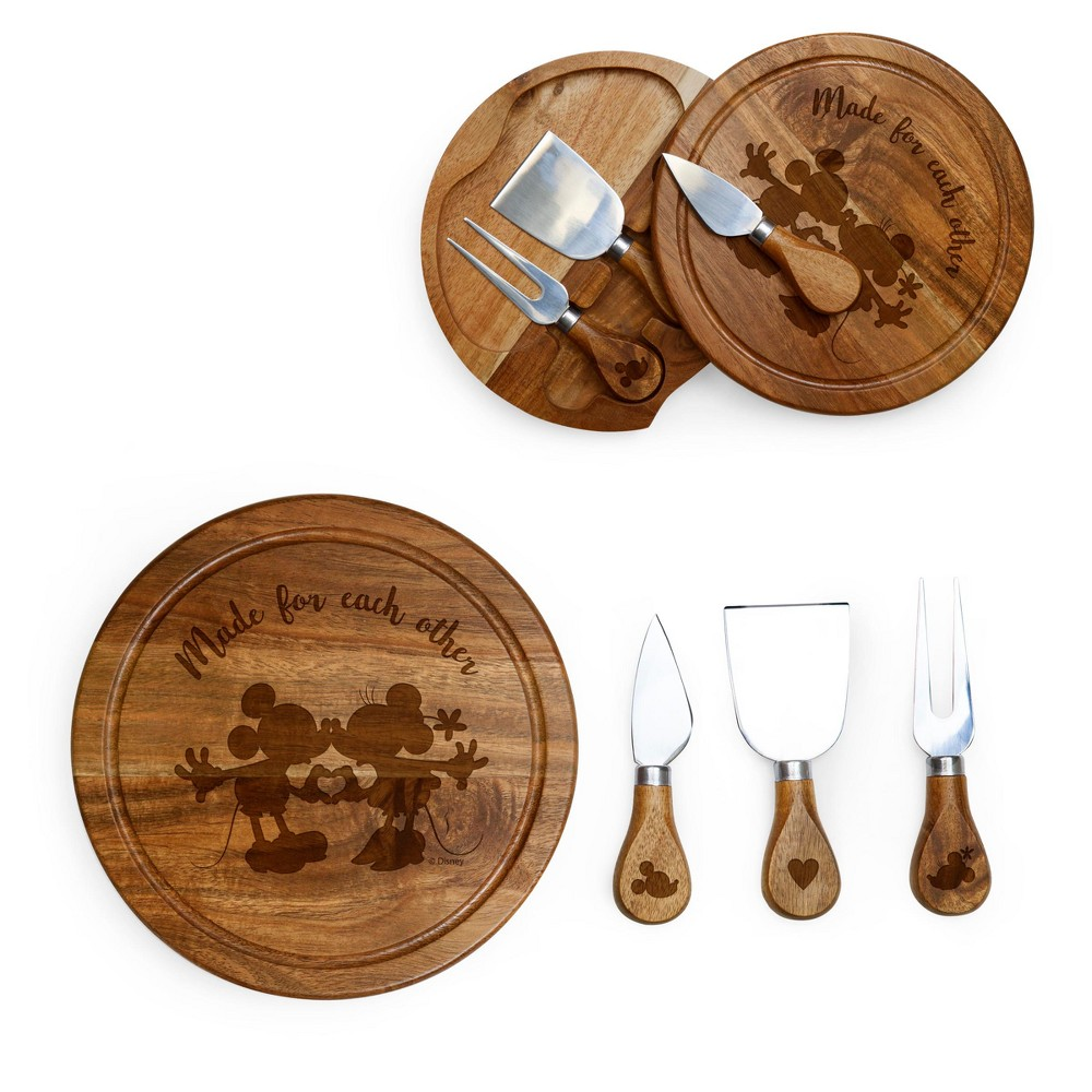 Image of Disney Mickey & Minnie Mouse Acacia Brie Cheese Board with Tool Set by Picnic Time, Brown
