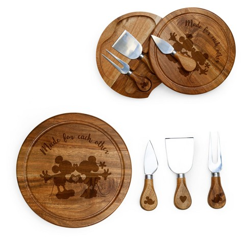 Disney Mickey & Minnie Mouse Acacia Brie Cheese Board with Tool Set by Picnic Time - image 1 of 3