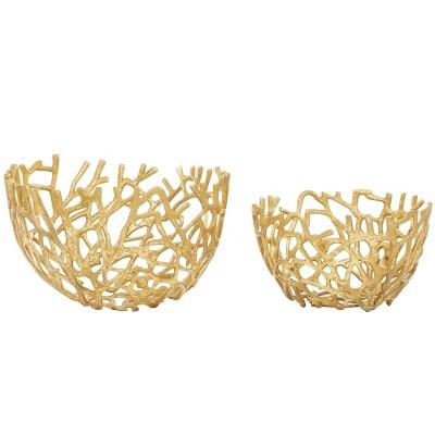 Set of 2 Round Coastal Aluminum Vine Bowls Gold - Olivia & May