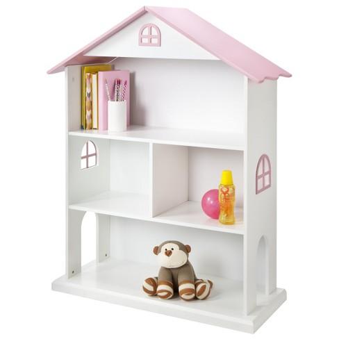 Dollhouse Kids Bookcase White Pink