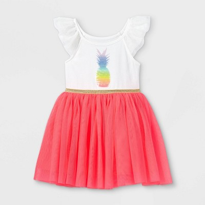Toddler Girls' Sequin Pineapple Tulle Short Sleeve Dress - Cat & Jack™ Pink