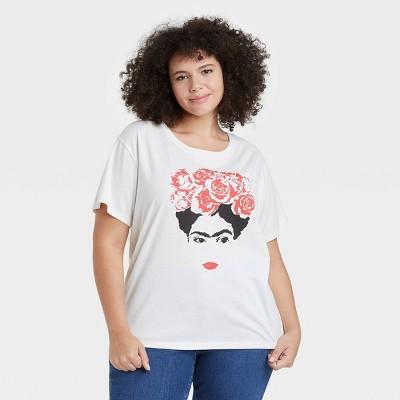 Women's Frida Outline Short Sleeve Graphic T-Shirt - White