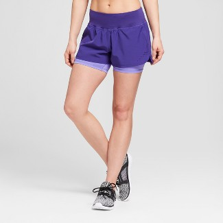 "Women's Training Mid-Rise Knit Layered Shorts 4"" - C9 Champion® Violet Stone XL"