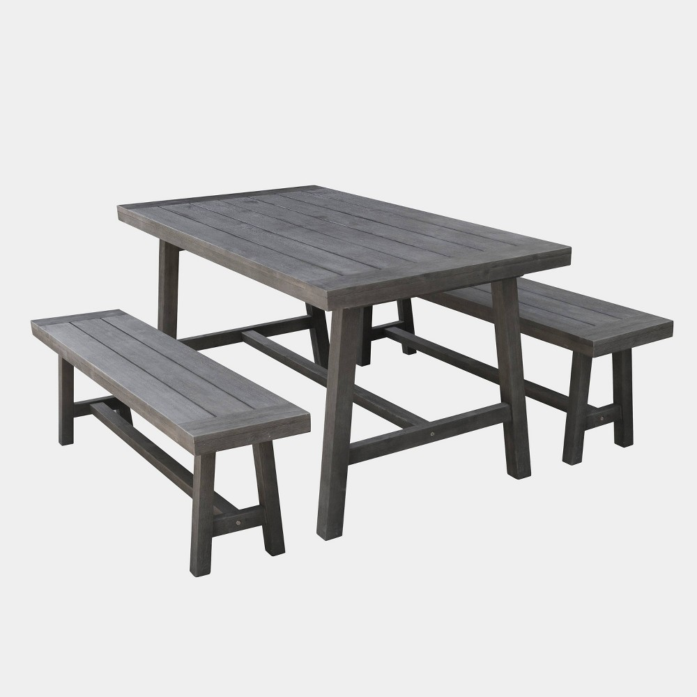 Renaissance 3pc Outdoor Patio Picnic Dining Set - Gray - Vifah