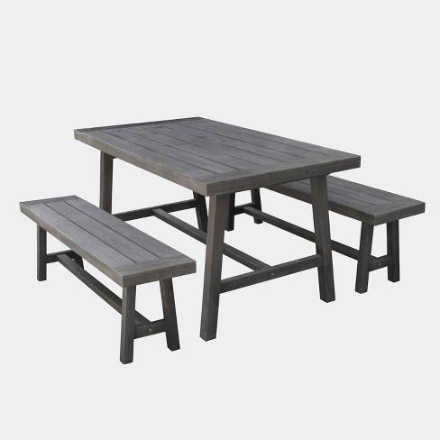 Renaissance 3pc Outdoor Patio Picnic Dining Set Gray Vifah Target