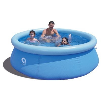 JLeisure Avenli 8 Foot x 25 Inch 2 to 3 Person Capacity Prompt Set Above Ground Kid Inflatable Outdoor Backyard Swimming Pool, Blue