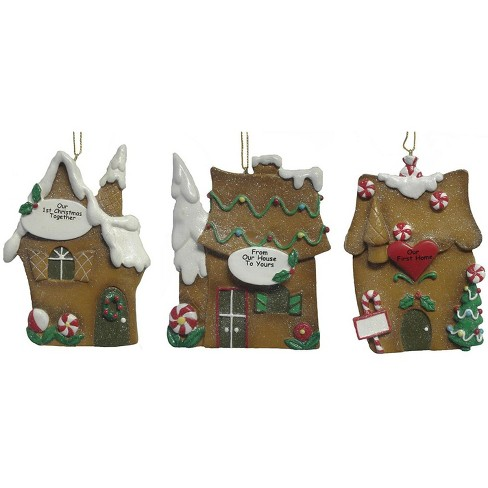 Roman Christmas Ornaments.Roman 12ct Our First Gingerbread House Christmas Ornaments 4 Brown White