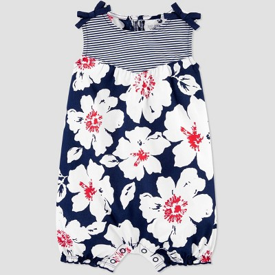 Baby Girls' 4th of July Floral Romper - Just One You® made by carter's Navy/White 18M