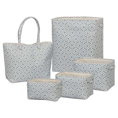Soft Side Geometric 5 Piece Set - White & Gray - Creative Bath™