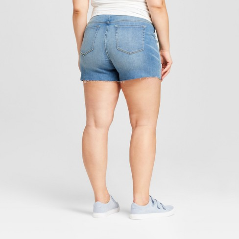 08d06a478335b Maternity Plus Size Crossover Panel Midi Jean Shorts - Isabel Maternity By  Ingrid & Isabel™ Light Wash : Target