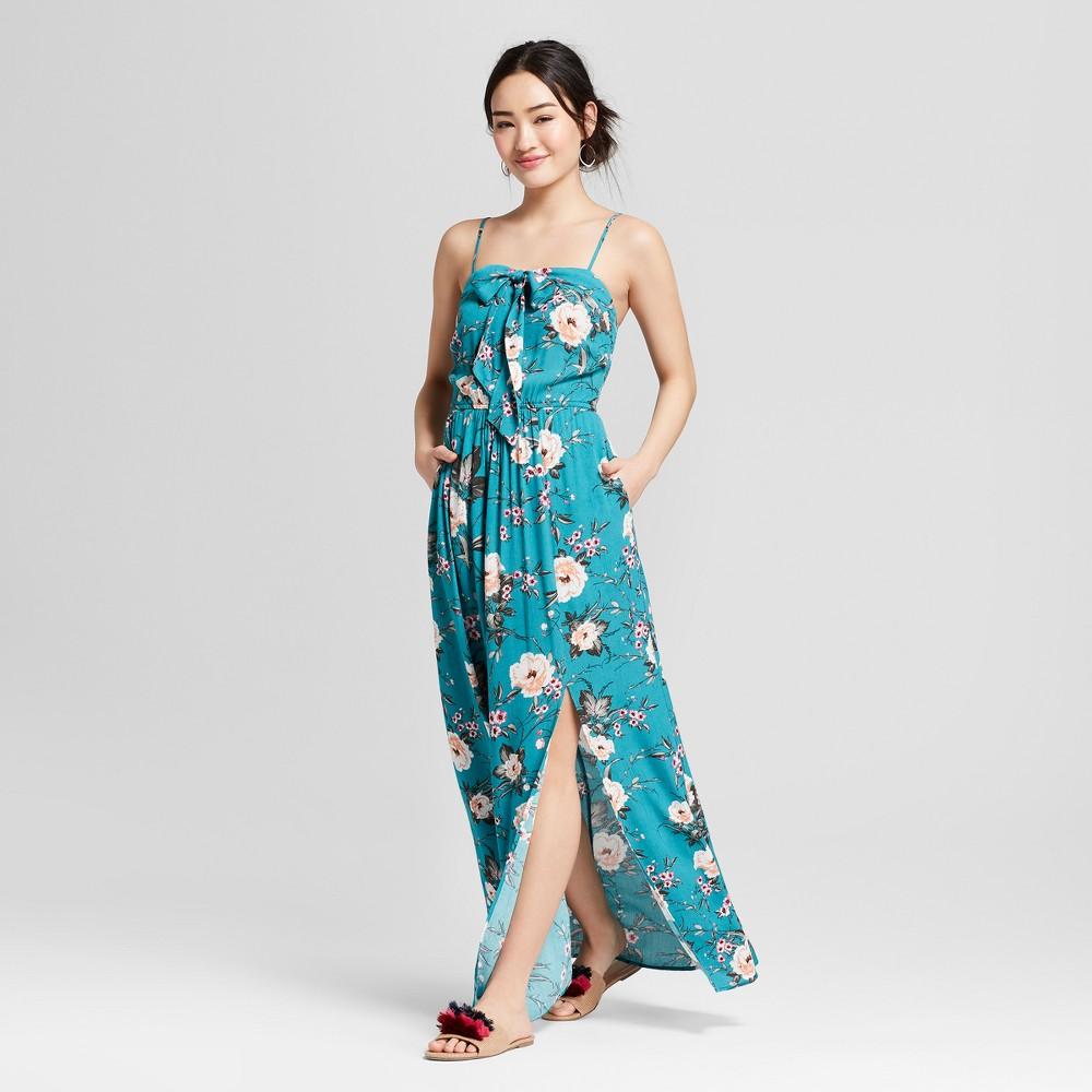 Women's Tie Front Floral Maxi Dress - Xhilaration Dusty Aqua (Blue)/Ivory Floral S