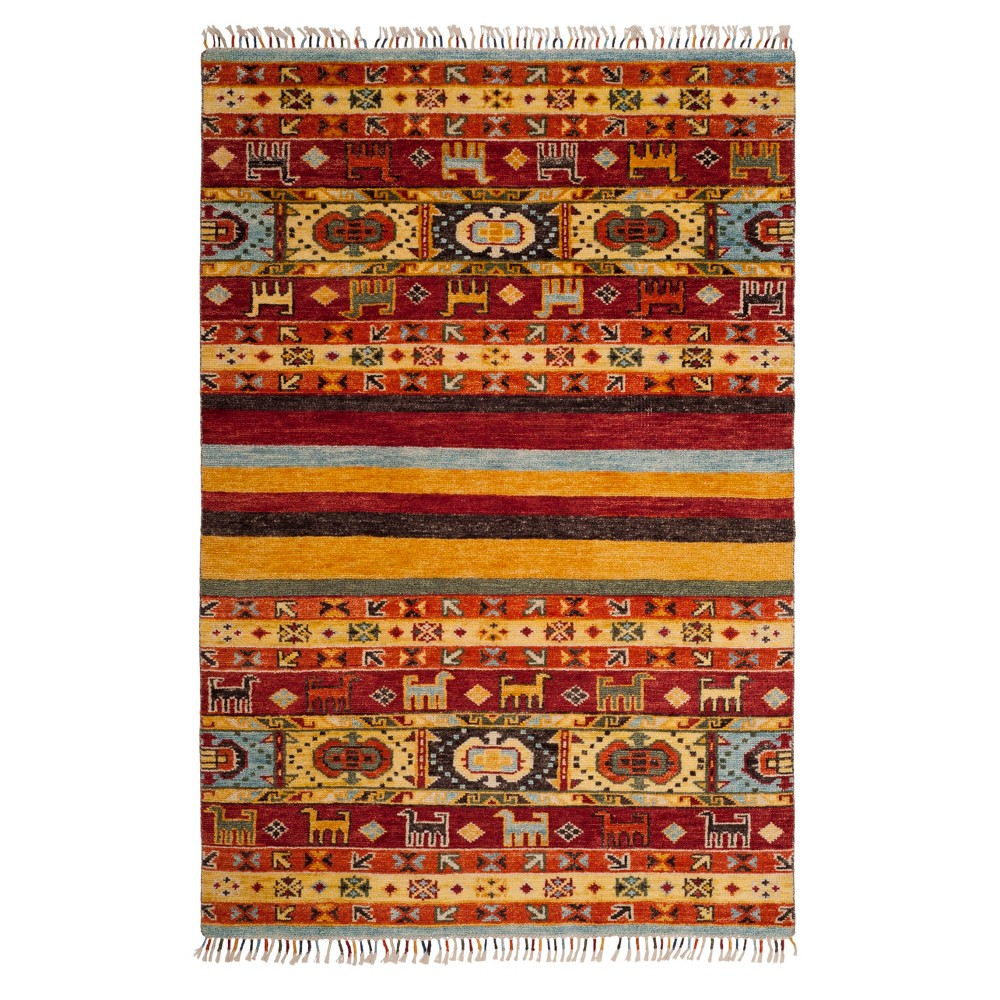 Tribal Design Knotted Area Rug 6'X9' - Safavieh, Multi-Colored