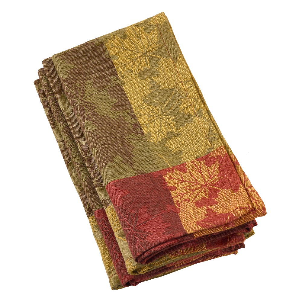 Red And Green Leaf Napkin - Saro Lifestyle, Multi-Colored