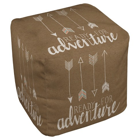 "Taupe Brown Ready For Adventure Pouf (18""X18""X18"") - Thumbprintz - image 1 of 1"