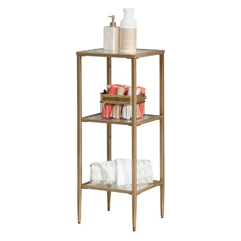 Harlan Stand with Three (3) Shelves Gold - Hillsdale Furniture - image 1 of 3