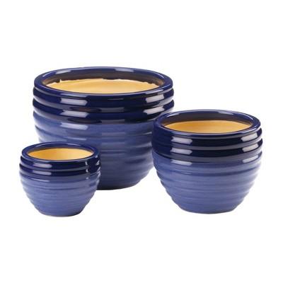 Set of 3 Indoor/Outdoor Ceramic Planters Duo Blue Tone - Zings & Thingz