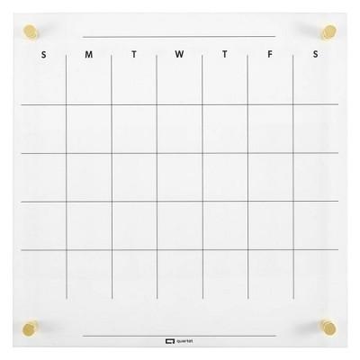 "Quartet 14"" x 14"" Glass Dry-Erase Calendar Board"