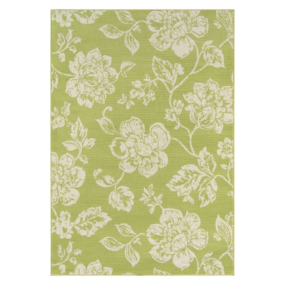 "Image of ""1'8""""X3'7"""" Floral Loomed Accent Rug Green - Momeni"""