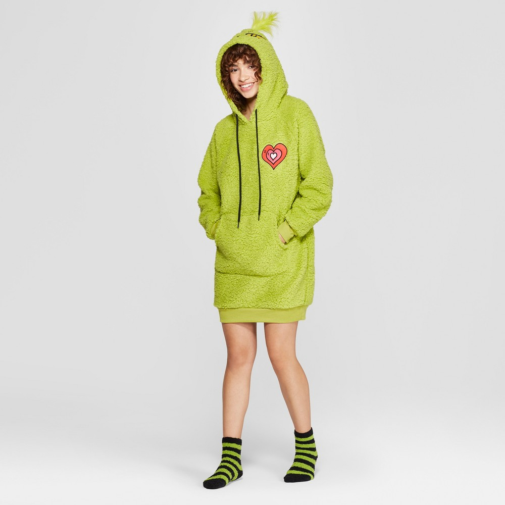 Women's Dr. Seuss Grinch Holiday Sherpa Union Suit - Green M