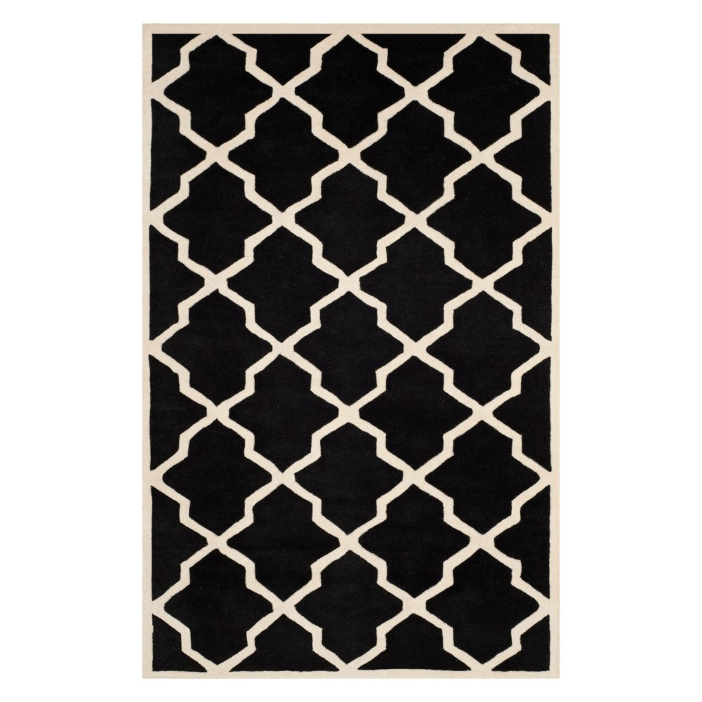5'X8' Quatrefoil Design Tufted Area Rug Black/Ivory - Safavieh
