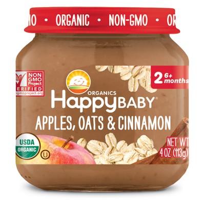 HappyBaby Fruit And Vegetable Snacks Apples, Oats & Cinnamon Baby Food - 4oz