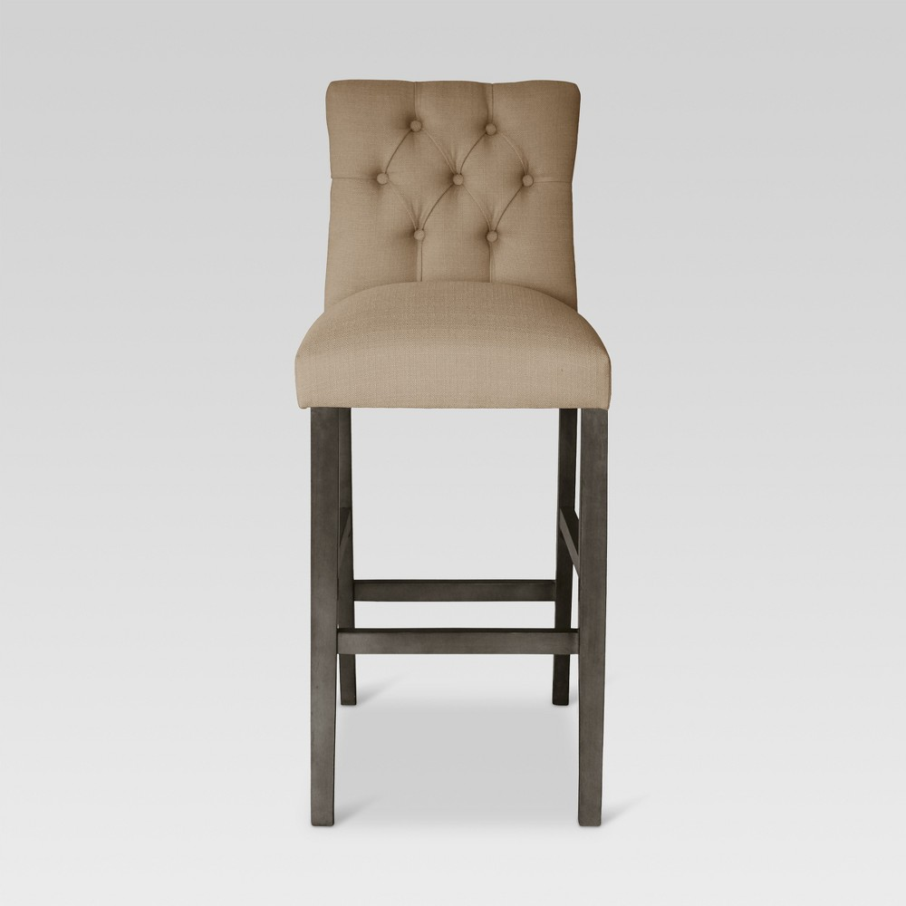 30 Brookline Tufted Barstool - Gray Wood Finish - Oyster - Threshold, Oyster/Gray