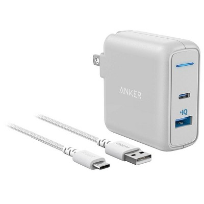 Anker 2-Port PowerPort 27W USB-C & USB-A Wall Charger (with 6' USB-C to USB-A Braided Nylon Cable) - White