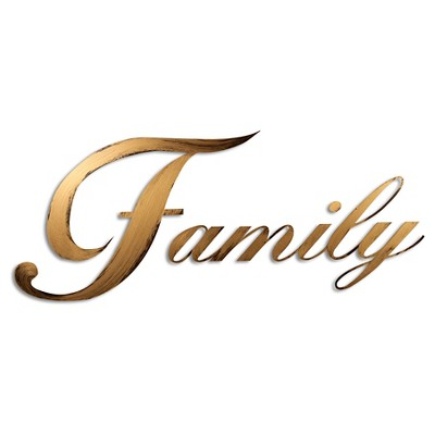 "28""x10"" Hand Painted 3D Wall Sculpture Family Gold- Letter2Word"