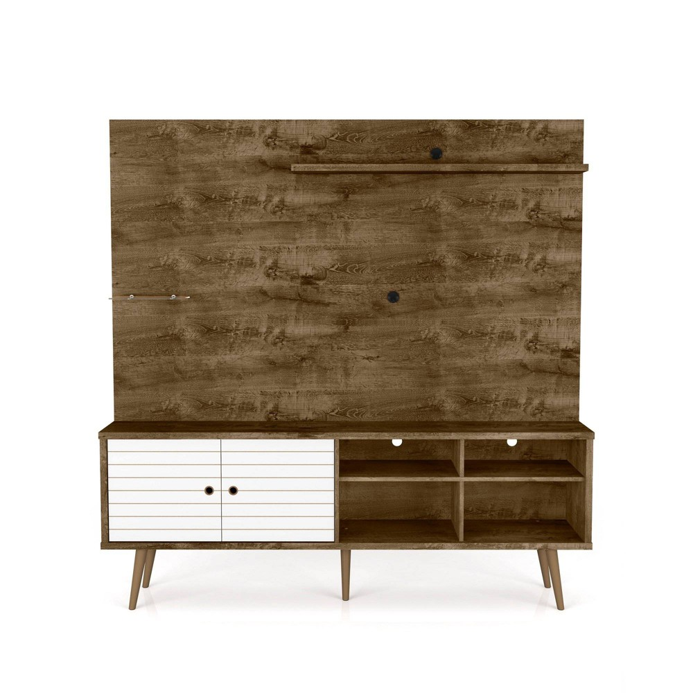 70.87 Liberty Freestanding Entertainment Center with Overhead Shelf Rustic Brown/White - Manhattan Comfort