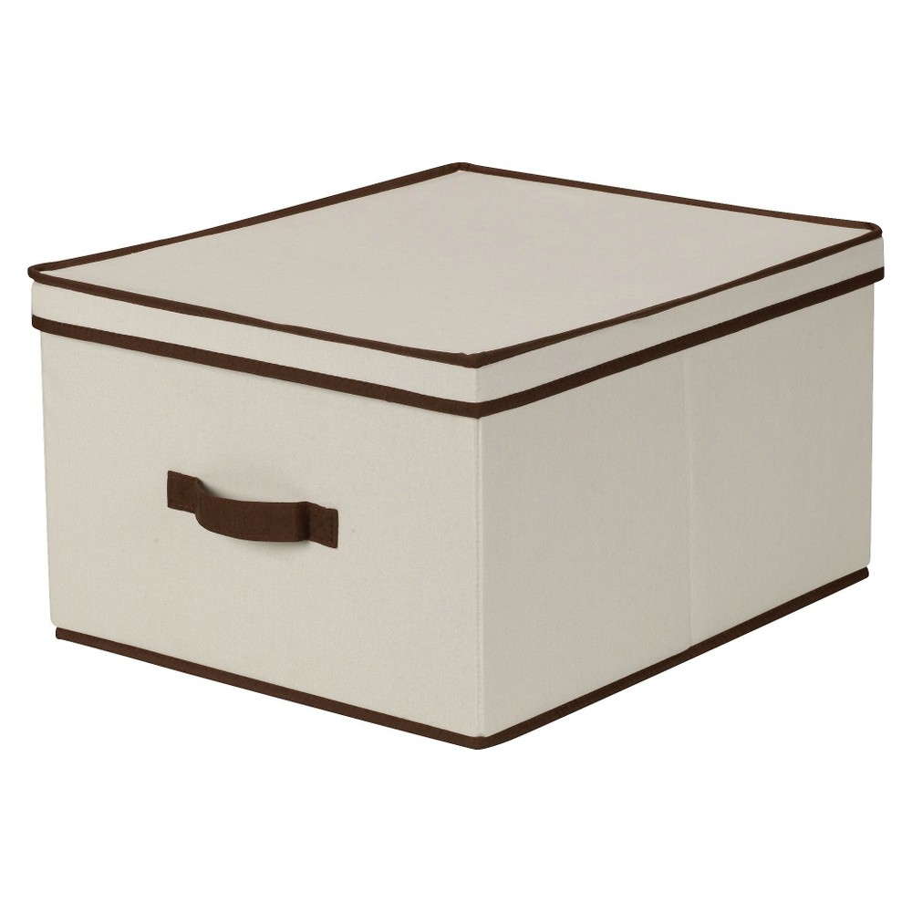 Household Essentials Jumbo Canvas Cube Storage Box Natural With Coffee Trim