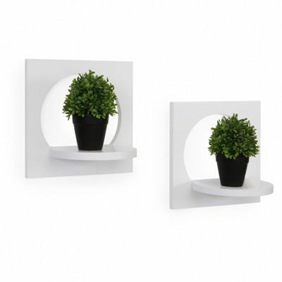 11.6  x 7.7  2pc Round Silhouette Shelf Set White - Danya B.