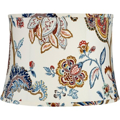 Springcrest White with Paisley Print Drum Lamp Shade 14x16x11.5 (Spider)