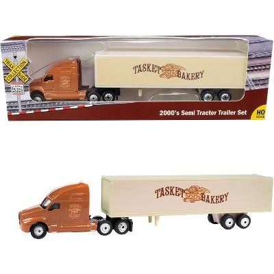 """2000's Semi Tractor Trailer Truck Brown and Cream """"Tasket Bakery"""" """"TraxSide Collection"""" 1/87 (HO) Scale Diecast Model by Classic Metal Works"""
