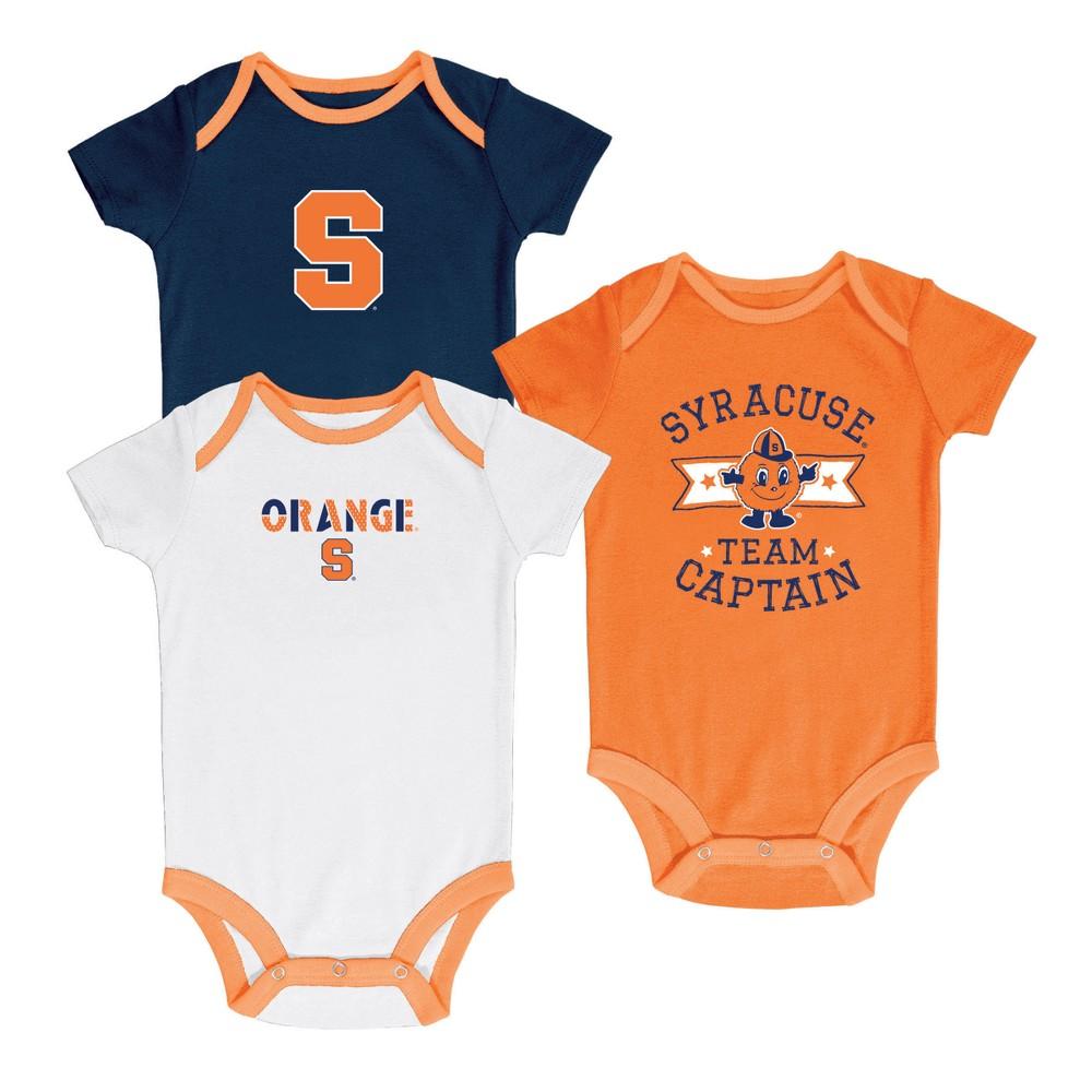 Syracuse Orange Newest Fan 3pk Bodysuit Set 3-6M, Multicolored