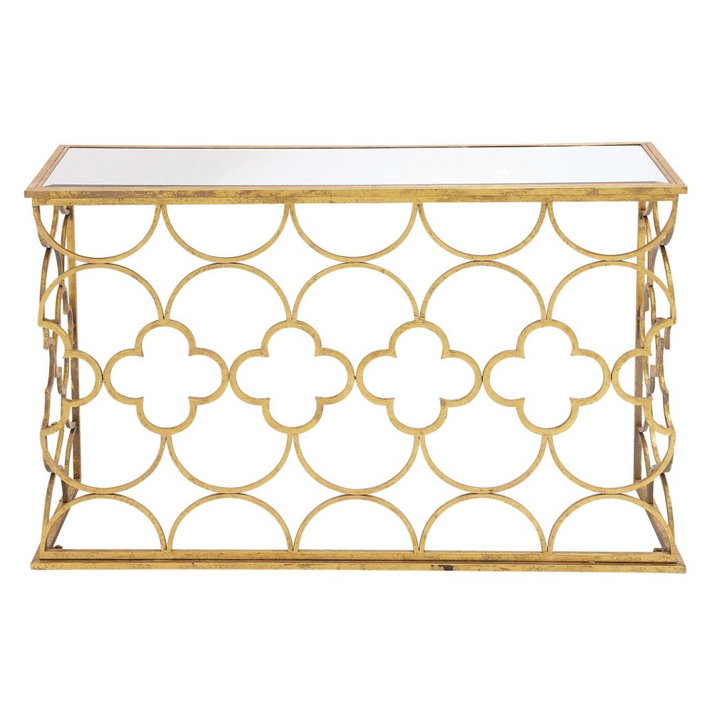 Metal and Mirror Quatrefoil Pattern Console Table Gold - Olivia & May
