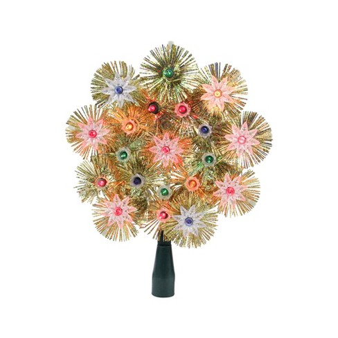 "Northlight 8"" Retro Gold Tinsel Snowflake Christmas Tree Topper - Multi Lights - image 1 of 2"