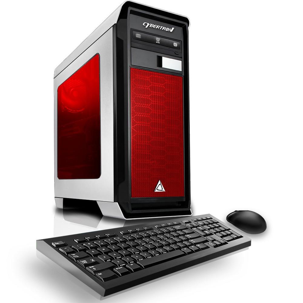 CybertronPC Rhodium GXM7400T Gaming PC with Amd FX-8300 Processor, Nvidia GeForce Gtx 1050 Graphics, 1TB Hard Drive, 8GB Memory - White/Red, Black