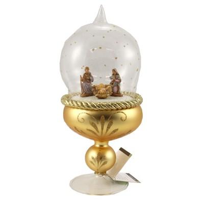 """Italian Ornaments 8.0"""" Standing Nativity In Globe Italian Religious Holy Family  -  Tree Ornaments"""
