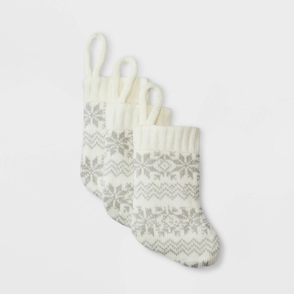 Image of 3pk Mini Fair Isle Christmas Stocking Ivory - Wondershop , White