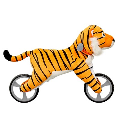 Asweets Kid's Animal Plush Toddler 20.5 Inch Tall Adjustable Training Balance Bike Ride On Toy, Ages 2 Years Old to 5 Years Old, Tiger