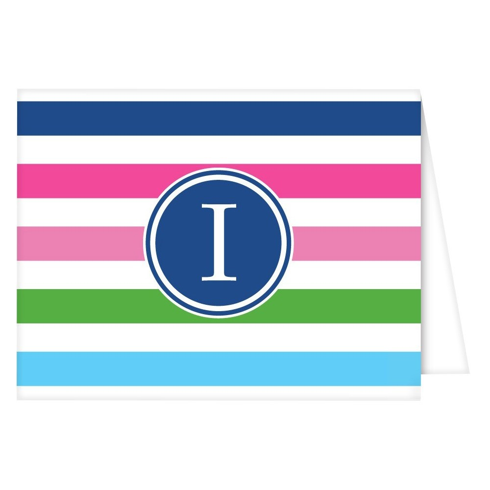 Folded Notes - Preppy Stripe Monogram - I, Multi-Colored