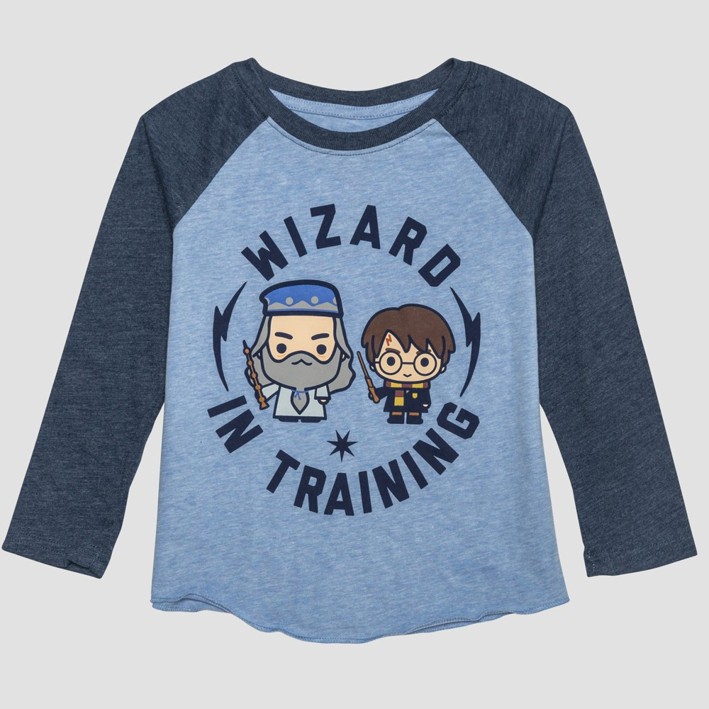 Toddler Boys' Harry Potter Raglan Long Sleeve T-Shirt - Blue 4T