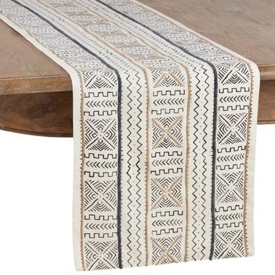 Saro Lifestyle Mud Cloth Cotton Table Runner