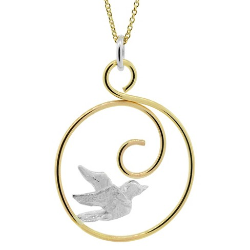 "Women's Journee Collection Bird Pendant Necklace in Sterling Silver and 14K Goldfill - (18"") - image 1 of 2"