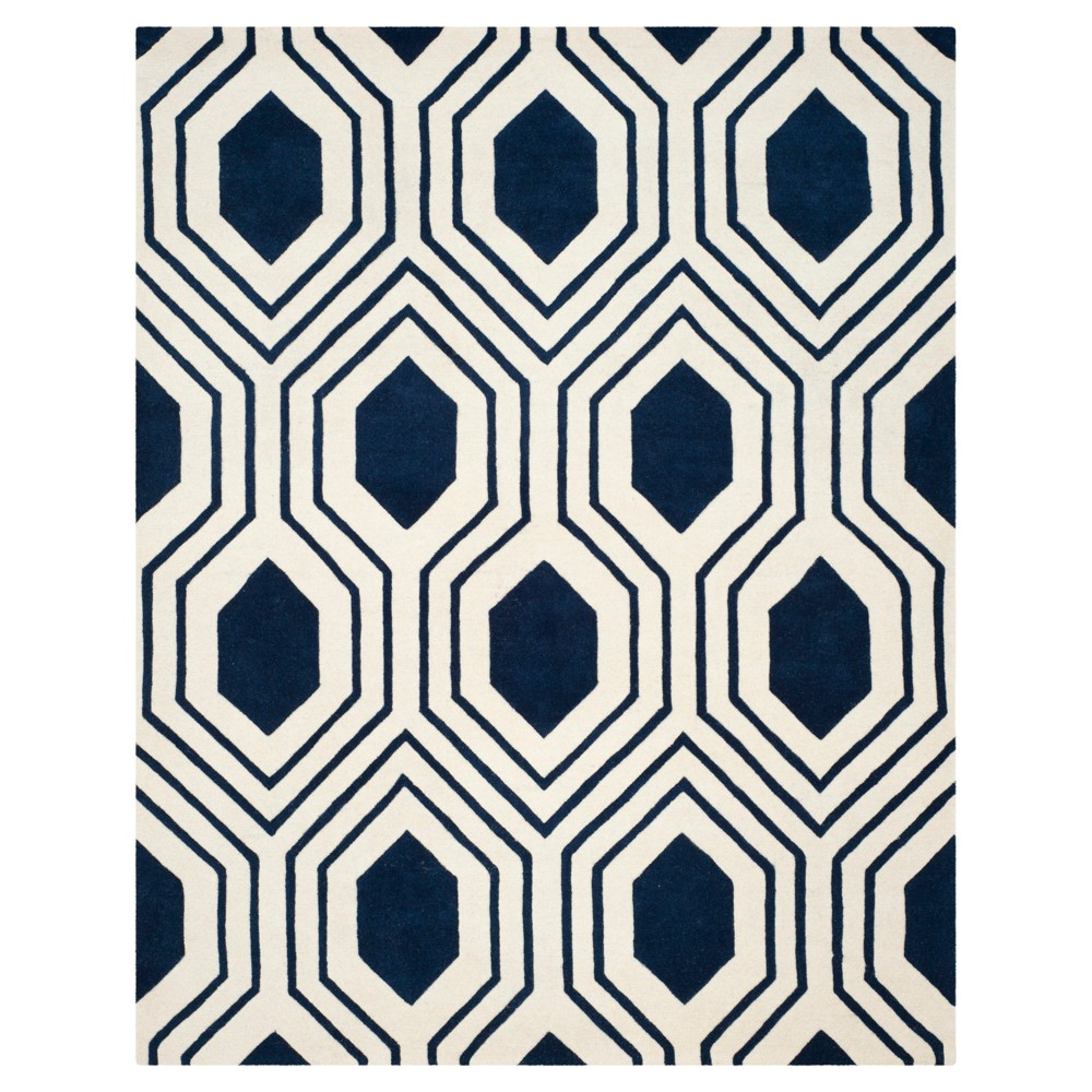 Dark Blue/Ivory Geometric Tufted Area Rug 6'X9' - Safavieh