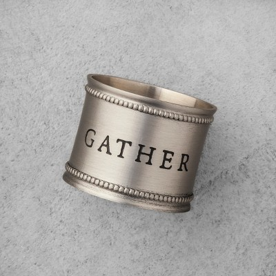 4pk Napkin Ring Pewter Gather, Merry, Joy, Peace - Hearth & Hand™ with Magnolia